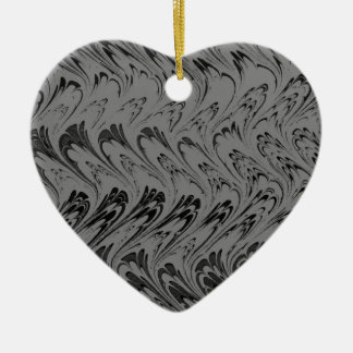 Vintage Charcoal Waves Retro Black Heart Ornament