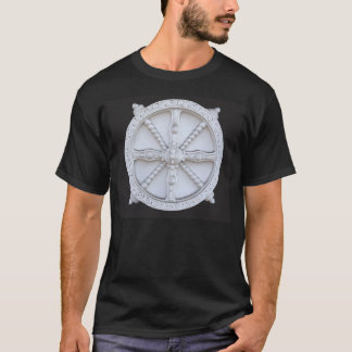 Vintage chariot wheel on t-shirt