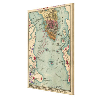 Vintage Charleston SC Civil War Map (1865) Canvas Print