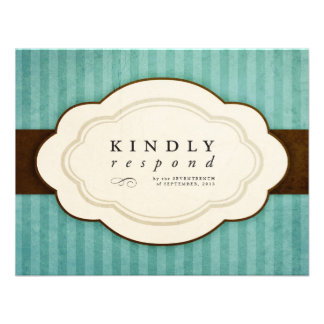 Vintage Charm Blue Chocolate Response Cards Personalized Invitations