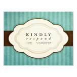 Vintage Charm Blue & Chocolate Response Cards Personalized Invitations