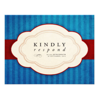Vintage Charm Blue Red Meal Choice RSVP Announcements