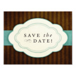 Vintage Charm Brown Blue Save the Dates Custom Invitations