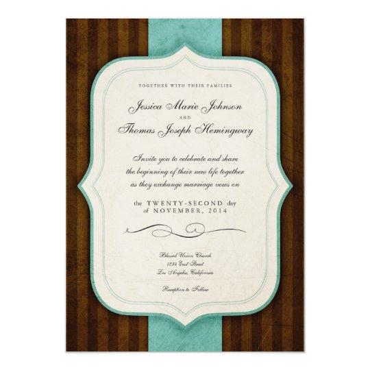 Vintage Charm Brown Blue Wedding Invites