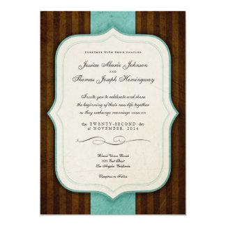 "Vintage Charm Brown Blue Wedding Invites 5"" X 7"" Invitation Card"