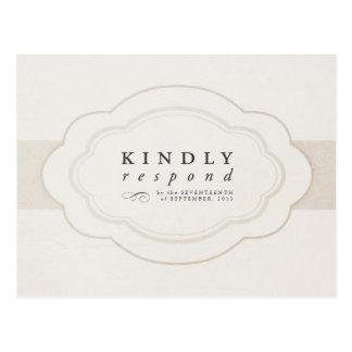 Vintage Charm Cream & Ivory Wedding RSVP Postcard