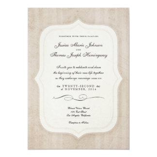"Vintage Charm Cream Monogram Wedding Invitations 5"" X 7"" Invitation Card"