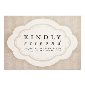 Vintage Charm Cream Response Cards Personalized Invites
