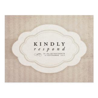 Vintage Charm Cream Wedding RSVP Post Cards