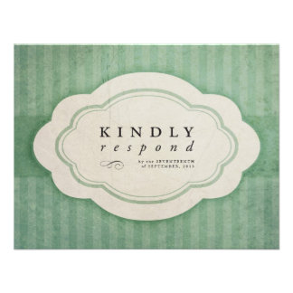 Vintage Charm Green Wedding Response Cards Invites