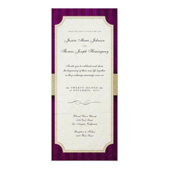 Vintage Charm Ivory & Aubergine Monogram Wedding Card