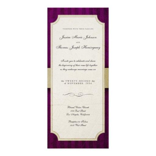 Vintage Charm Ivory & Aubergine Monogram Wedding Invitations