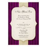 Vintage Charm Ivory & Aubergine New Year's Party Card