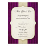 Vintage Charm Ivory & Aubergine New Year's Party 5x7 Paper Invitation Card