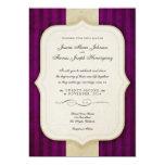 Vintage Charm Ivory & Aubergine Wedding Invites
