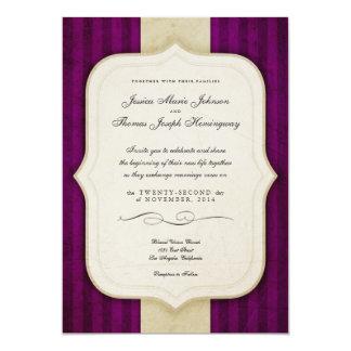 """Vintage Charm Ivory & Aubergine Wedding Invites 5"""" X 7"""" Invitation Card"""