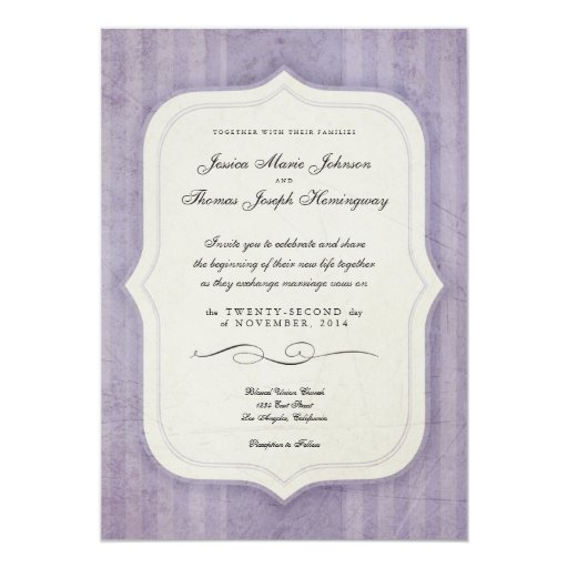 "Vintage Charm Lilac Monogram Wedding Invitations 5"" X 7"" Invitation Card"