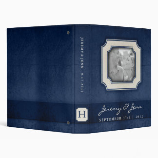 Vintage Charm Navy Blue Monogram Wedding Binder