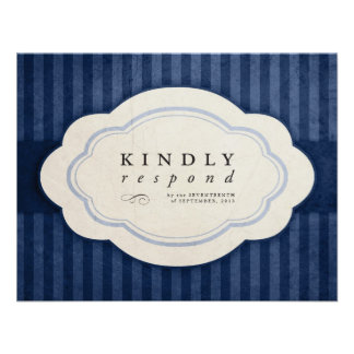 Vintage Charm Navy Blue Wedding Response Cards Custom Invite