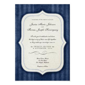 "Vintage Charm Navy Monogram Wedding Invitations 5"" X 7"" Invitation Card"