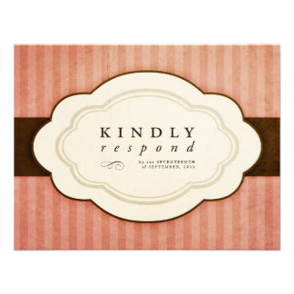 Vintage Charm Pink and Chocolate Response Cards Custom Invites