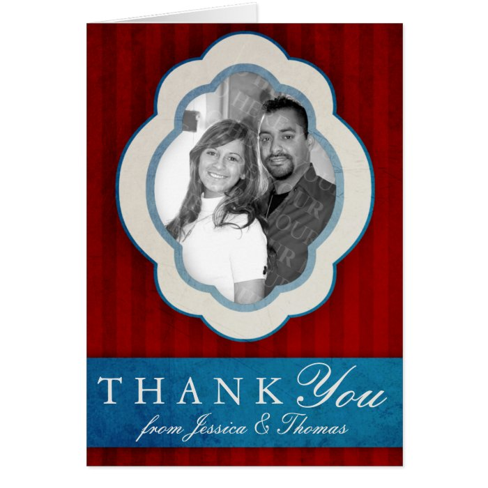 Vintage Charm Red, White & Blue Photo Thank You Card