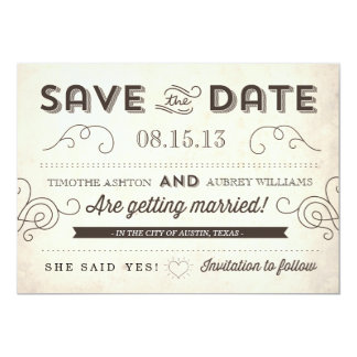 Vintage Charm Save the Date Card
