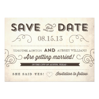 Vintage Charm Save the Date Personalized Invitations