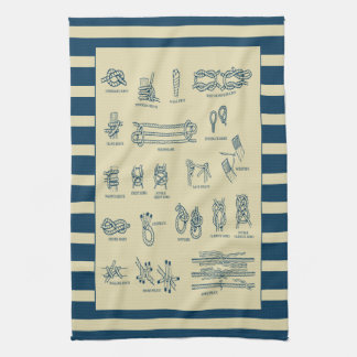 Vintage chart of nautical knots with stripes towel