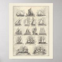 Vintage chart of sailing ships