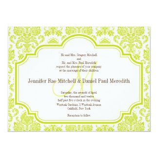 Vintage Chartreuse Damask Wedding Invitations