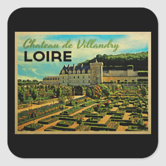 Vintage Chateau de Villandry el Loira Pegatina Cuadrada