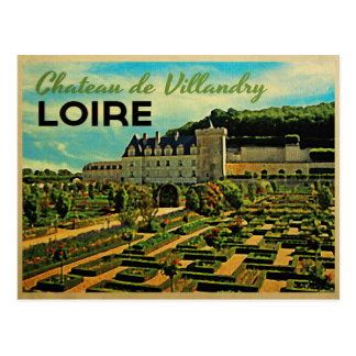 Vintage Chateau de Villandry el Loira Postales
