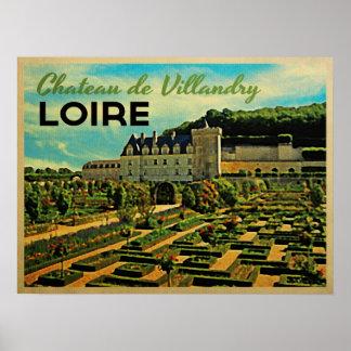 Vintage Chateau de Villandry el Loira Póster