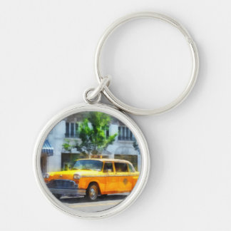 Vintage Checkered Cab Silver-Colored Round Keychain