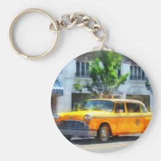Vintage Checkered Cab Basic Round Button Keychain