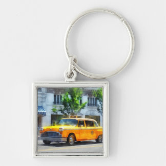 Vintage Checkered Cab Silver-Colored Square Keychain