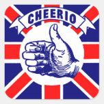 Vintage Cheerio Calcomanía Cuadrada