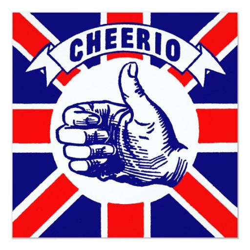 """Vintage Cheerio Invitación 5.25"""" X 5.25"""""""