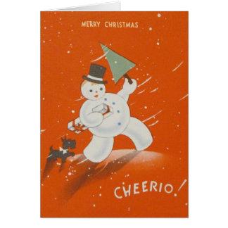 Vintage Cheerio Merry Christmas Greeting Card