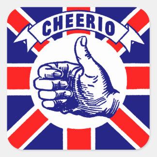 Vintage Cheerio Pegatina Cuadrada