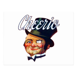 Vintage Cheerio Top Hat Guy Postcard