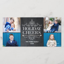 Vintage Cheers 4 Photos Holiday Photo Card