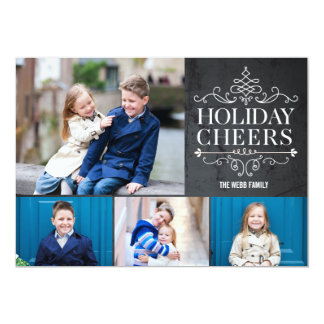 Vintage Cheers 4 Photos Holiday Photo Cards