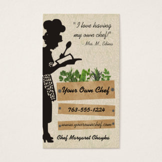 Vintage chef silhouette herbs cooking biz cards