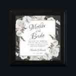 """Vintage Cherish Mother of the Bride Personalized Gift Box<br><div class=""""desc"""">Vintage Cherish White Floral & Rose Gold Painted Roses and Flowers. A Vintage Classic and Elegant Look, and Plenty of Gray, Ivory White, Rose Gold, Dusty Pink, Pine Green, and Gray leaves and foliage. With Hand Painted Floral elements, Vintage Classic Script Fonts, and Elegant Rose Gold Glitter Foil Geometric Square...</div>"""