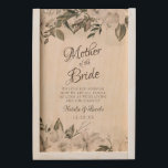 """Vintage Cherish Mother of the Bride Personalized Wooden Keepsake Box<br><div class=""""desc"""">Vintage Cherish White Floral & Rose Gold Painted Roses and Flowers. A Vintage Classic and Elegant Look, and Plenty of Gray, Ivory White, Rose Gold, Dusty Pink, Pine Green, and Gray leaves and foliage. With Hand Painted Floral elements, Vintage Classic Script Fonts and Classy Peony and Rose Borders - Mother...</div>"""
