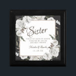 """Vintage Cherish Sister Maid of Honor Personalized Gift Box<br><div class=""""desc"""">Vintage Cherish White Floral & Rose Gold Painted Roses and Flowers. A Vintage Classic and Elegant Look, and Plenty of Gray, Ivory White, Rose Gold, Dusty Pink, Pine Green, and Gray leaves and foliage. With Hand Painted Floral elements, Vintage Classic Script Fonts, and Elegant Rose Gold Glitter Foil Geometric Square...</div>"""