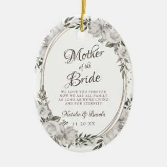 Vintage Cherish To the Mother of the Bride Quote Ceramic Ornament