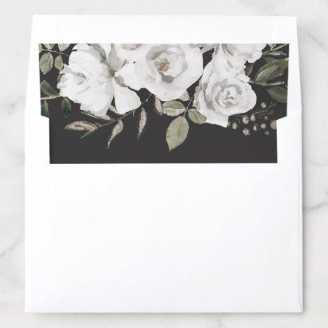 Vintage Cherish White Floral & Rose Gold Wedding Envelope Liner